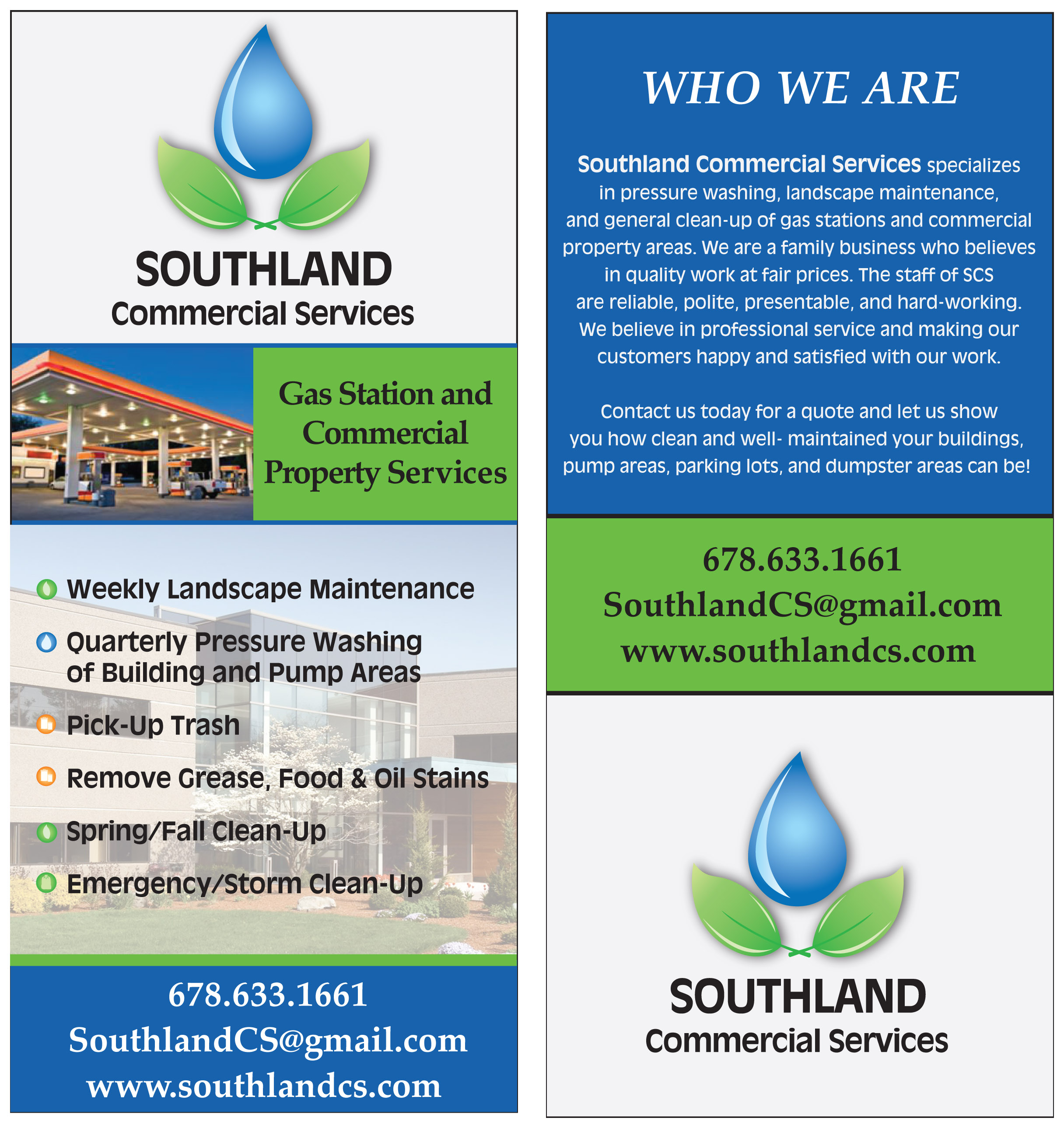 SCS Gas Station-Commercial Property Rack Card